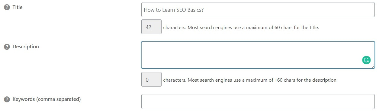 Step 4 in how to learn SEO basics is fill up the meta details