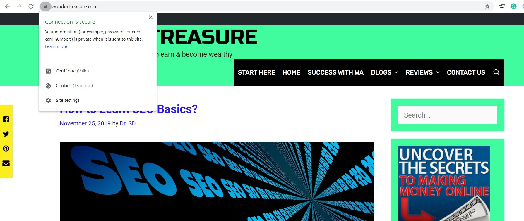 how to learn SEO basics - Secured website