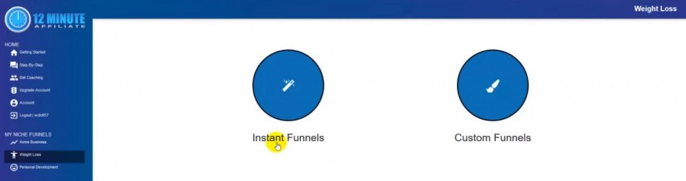 Choose funnel type 12 minutes affiliate dashboard