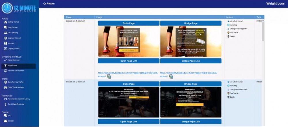 Instant funnel within 12 minutes affiliate dashboard