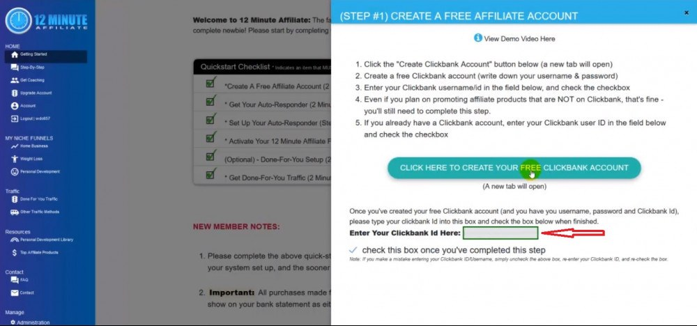 Enter Clickbank ID at 12 minutes affiliate dashboard